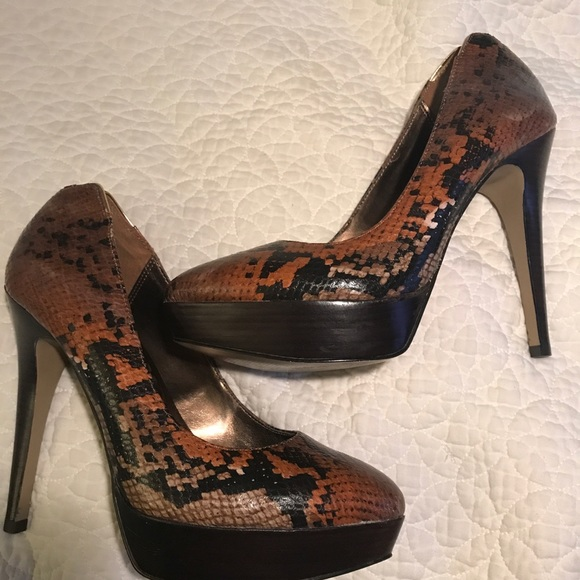 c614958871e Lulu Townsend Shoes - Snakeskin Print Very High Heel Shoes Size 9